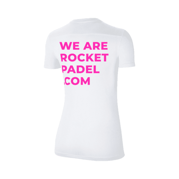 Nike T-shirt with Rocket Padel logo. White shirt with pink print.