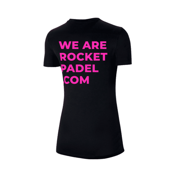 Nike T-shirt with Rocket Padel logo. Black with pink print.