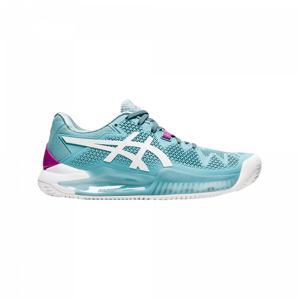 Asics Gel Resolution 8 Clay Smome Blue/White. White and blue padel shoes from Asics.