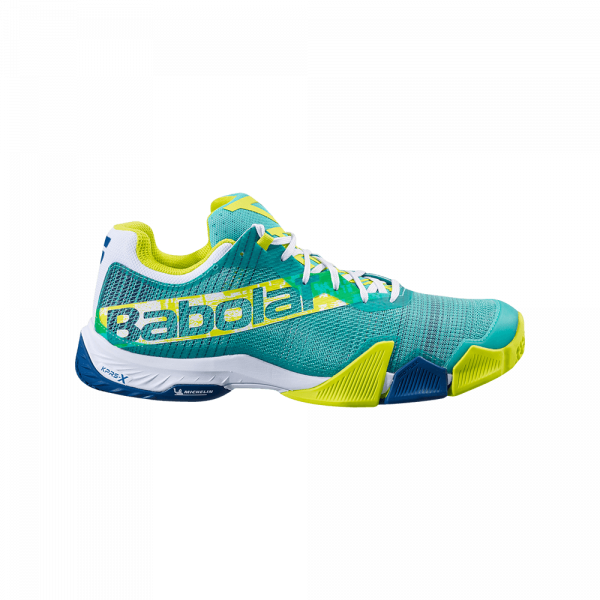 Babolat Jet Premura 2021 Green/Sulphur Spring. Green and yellow padel shoe from Babolat.