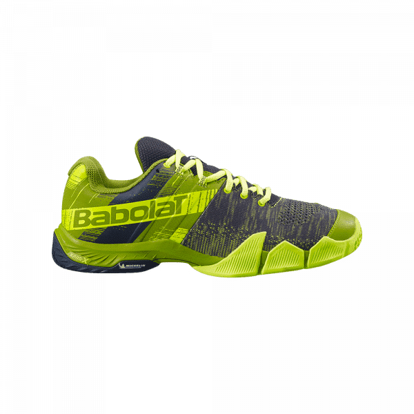 Babolat Movea 2021 Spinach Green/Flou Yellow. Green and yellow padel shoes from Babolat.