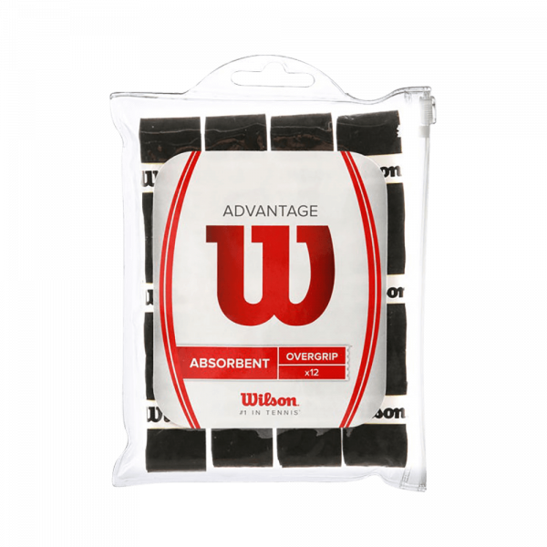 Wilson Advantage Overgrip 12-Pack Black. Black Overgrips from Wilson.