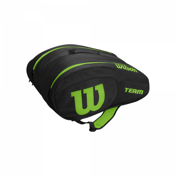 Wilson Team Padel Bag Black/Green. Black and green padel bag from Wilson.