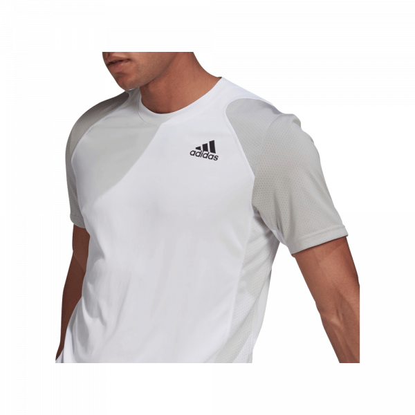 adidas Club Padel T-Shirt White/Grey. A white and grey colored padel t-shirt from adidas.