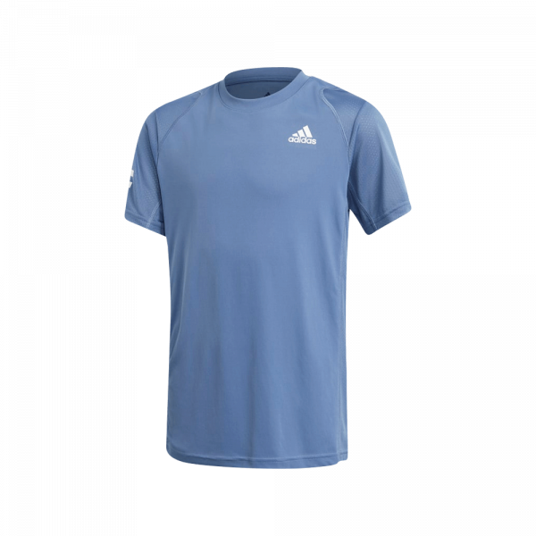 adidas Junior Club 3-Stripe T-Shirt Crew Blue. A blue padel t-shirt for juniors from adidas.
