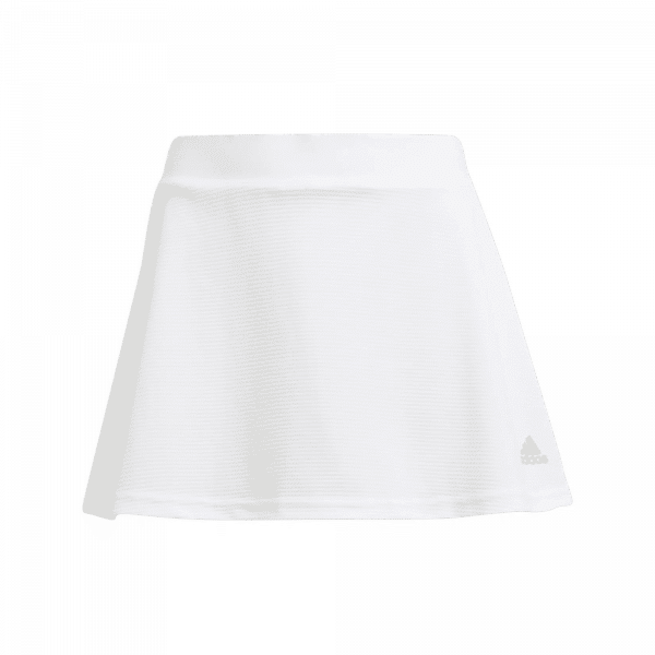 adidas Junior Club Skirt White. A white padel skirt for juniors from adidas.