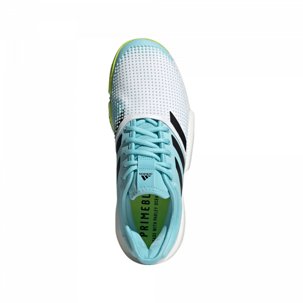 adidas SoleCourt Primeblue Shoes Cloud White Solar Yellow. Blue and white padel shoes from adidas.