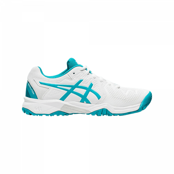 ASICS GEL-RESOLUTION 8 GS JUNIOR blue and white padel shoes from asics