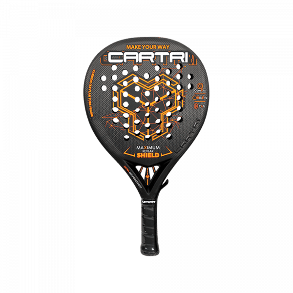 Cartri SHIELD 2021 black and orange padel racket from Cartri