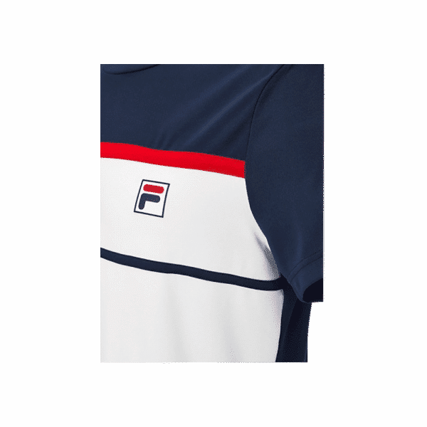 FILA T-shirt Steve in color White and Navy with red details. Sport t-shirt from Italian brand FILA.