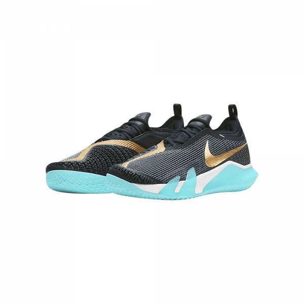 Nike Court React Vapor NXT Blue black white and gold colored padel shoes