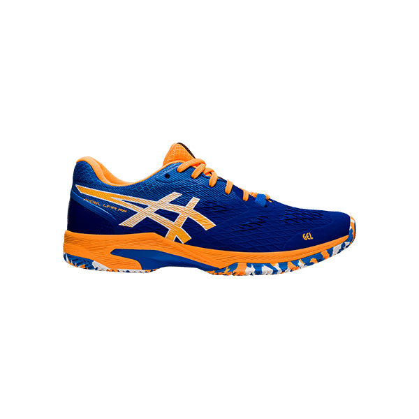 Padel Lima FF is a best selling shoe from Asics. This AW21 model is made in blue with orange details and pattern.