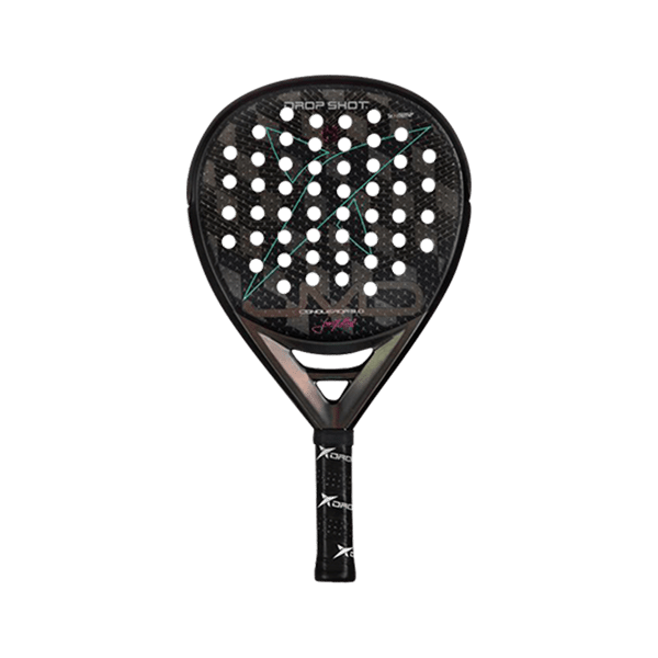 Drop Shot Conqueror 9 is a padel racket for advanced players. It has a teardrop shape and a weight around 360 to 380 grams.