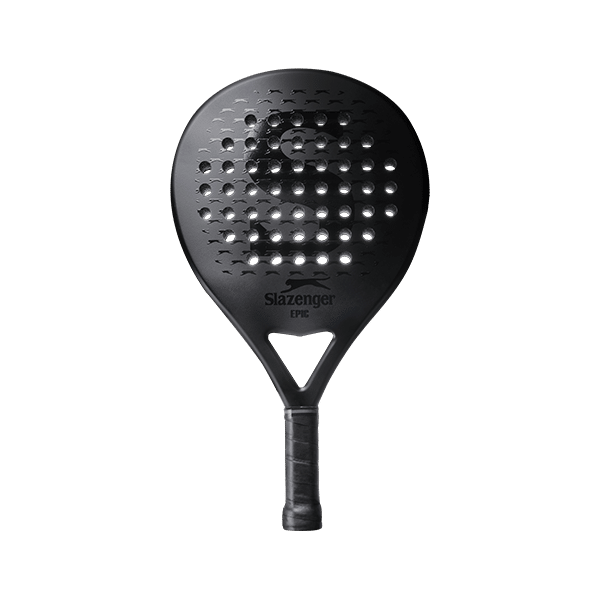 Slazenger Padel EPIC sold exclusively at Rocket Padel. Black racket with panther pattern for extra grip.
