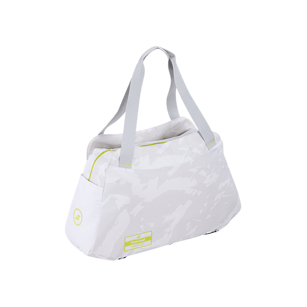 White padel bag from Babolat with compartment for racket and other padel gear.