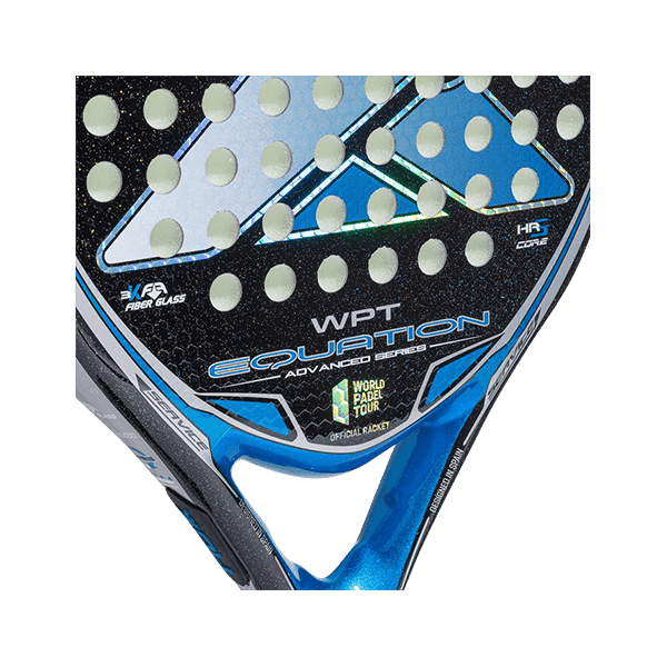 Black/blue racket from NOX. An easy-to-play-with rand controlled racket. Round shape.