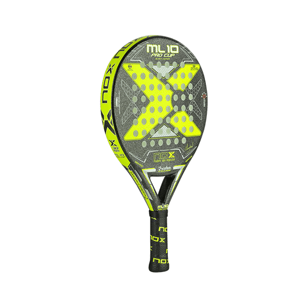 Black/yellow racket from NOX. Medium hard HR3 core, round shape and a face in fiberglass.