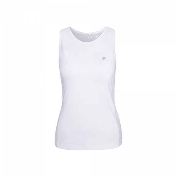 FILA Top Mina | White. White padel top from FILA with transparent details.