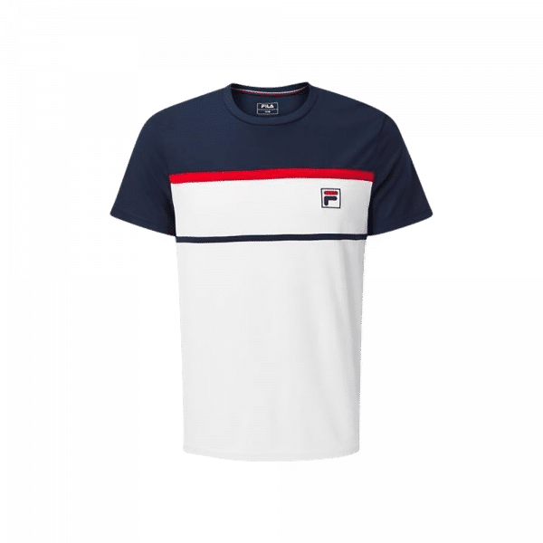 FILA T-shirt Steve. White t-shirt with red and blue details from the padel brand FILA.