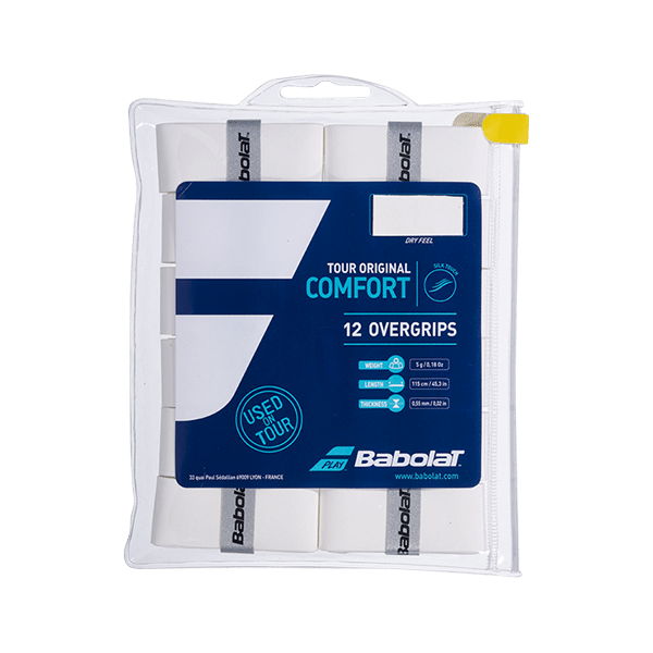 Tour Original 12-pack is a white overgrip from Babolat
